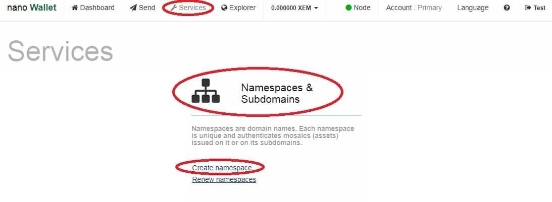 02 crearename space 1 - Come creare un token sulla blockchain di NEM